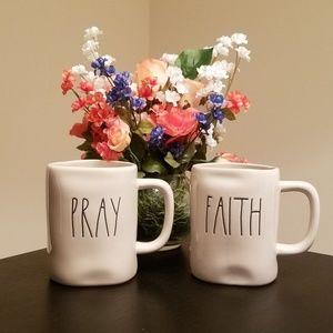 Set of Rae Dunn LL Mugs Pray & Faith NWT